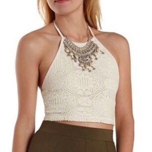 Charlotte Russe Tan Crochet Crop Top